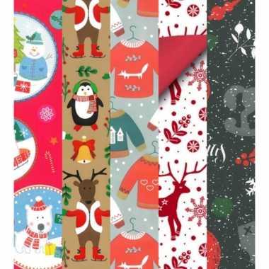 15x rollen kerst inpakpapier/cadeaupapier diverse prints 2,5 x 0,7 meter voor kinderen