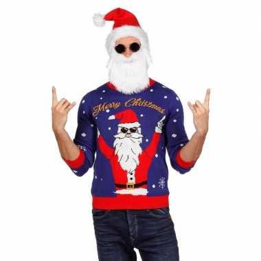 Blauwe kersttrui met rocker kerstman