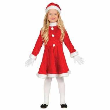 Budget kerstjurkje verkleed kerstkleding met muts voor meisjes