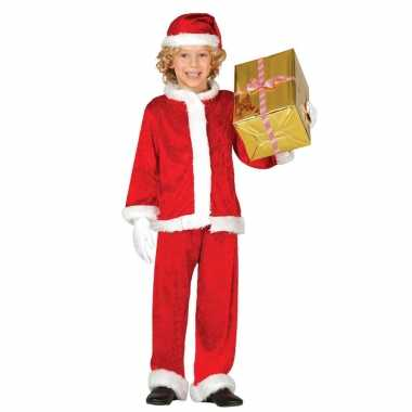 Budget pluche kerstman verkleed kerstkleding voor kinderen 3 delig
