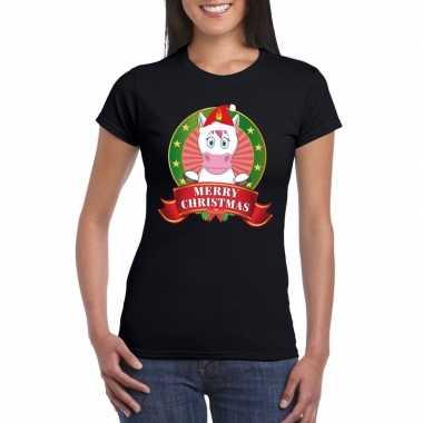 Eenhoorn kerst t shirt zwart merry christmas voor dames