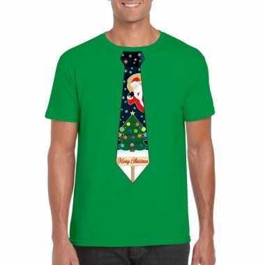 Fout kerst t shirt groen met kerstboom stropdas voor heren