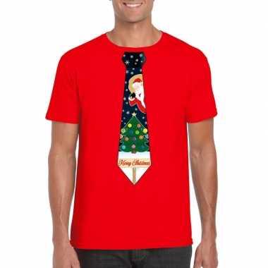 Fout kerst t shirt rood met kerstboom stropdas voor heren