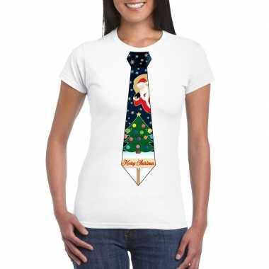 Fout kerst t shirt wit met kerstboom stropdas voor dames