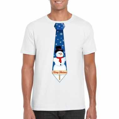 Fout kerst t shirt wit met sneeuwpop stropdas voor heren