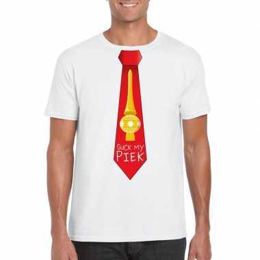 Fout kerst t shirt wit suck my piek rode stropdas voor heren