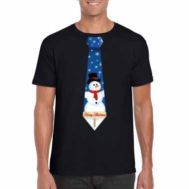 Fout kerst t shirt zwart met sneeuwpop stropdas voor heren