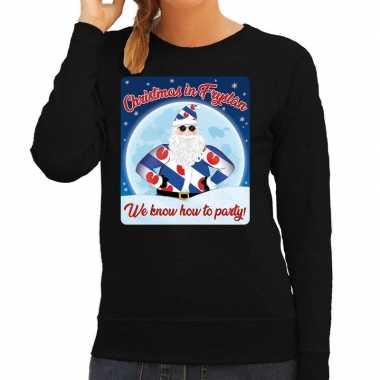 Foute friesland kersttrui christmas in fryslan zwart voor dames