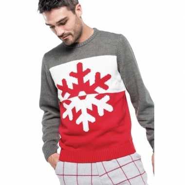 Foute gebreide kersttrui grijs/rood met sneeuwvlok voor heren
