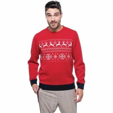 Foute gebreide kersttrui rood met noorse print voor heren