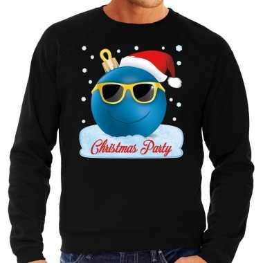Foute kerst sweater trui christmas party zwart voor heren