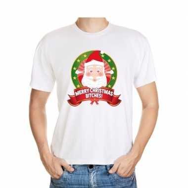 Foute kerst t shirt merry christmas bitches voor heren
