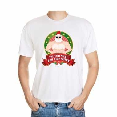Foute kerst t shirt wit im too sexy for this shirt heren