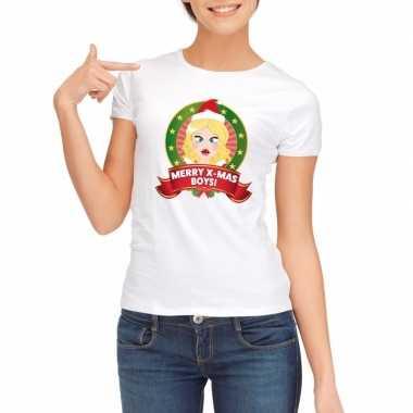 Foute kerst t shirt wit merry x mas boys voor dames