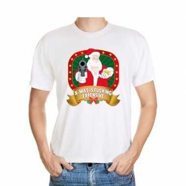 Foute kerst t shirt wit x mas is fucking expensive voor heren