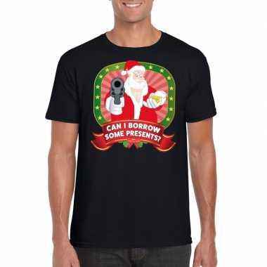 Foute kerst t shirt zwart can i borrow some presents voor heren