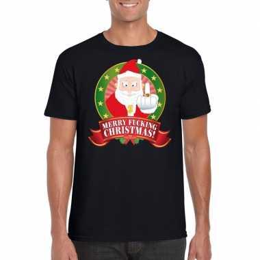 Foute kerst t-shirt zwart merry fucking christmas voor heren