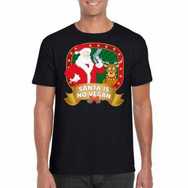 Foute kerst t shirt zwart santa is no vegan heren
