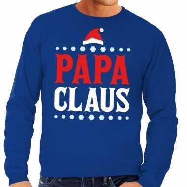Foute kersttrui blauw papa claus voor heren