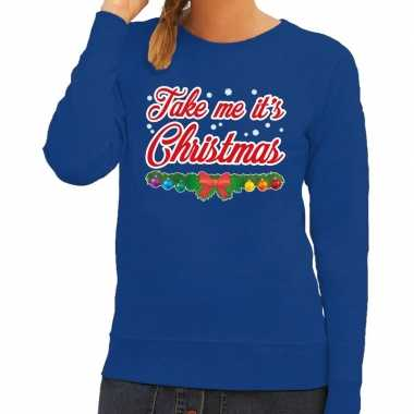 Foute kersttrui blauw take me its christmas voor dames