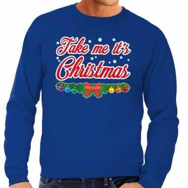Foute kersttrui blauw take me its christmas voor heren