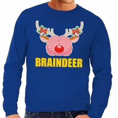 Foute kersttrui braindeer blauw voor heren