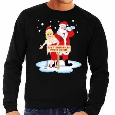 Foute kersttrui dronken kerstman en kerstvrouw zwart heren