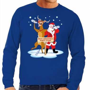 Foute kersttrui dronken kerstman en rendier rudolf blauw heren