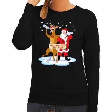 Foute kersttrui dronken kerstman en rendier rudolf zwart dames