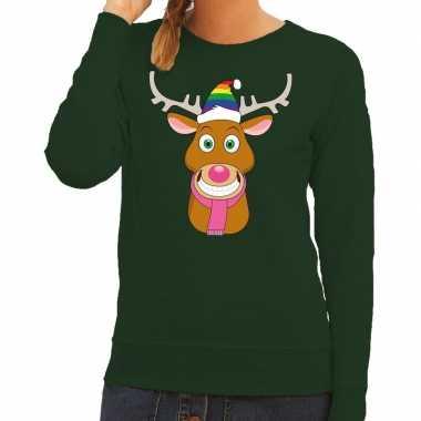 Foute kersttrui gay rudolf het rendier groen dames