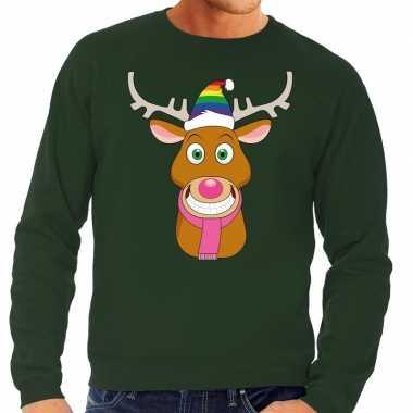 Foute kersttrui gay rudolf het rendier groen heren