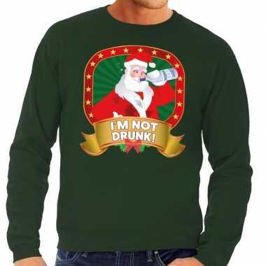 Foute kersttrui groen im not drunk voor heren