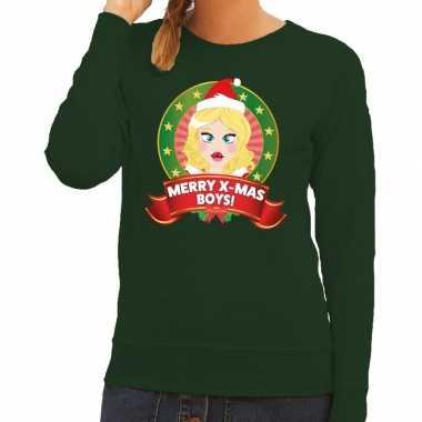 Foute kersttrui groen merry x mas boys voor dames