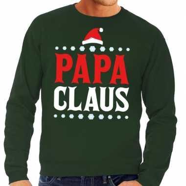 Foute kersttrui groen papa claus voor heren