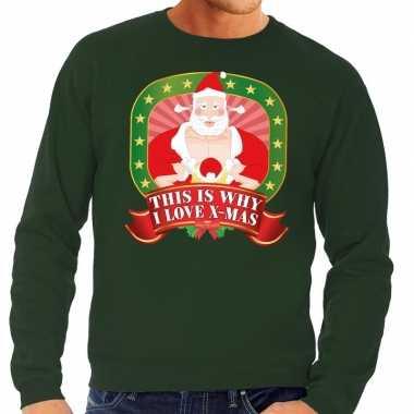 Foute kersttrui groen this is why i love christmas voor heren