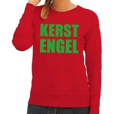 Foute kersttrui kerst engel rood voor dames