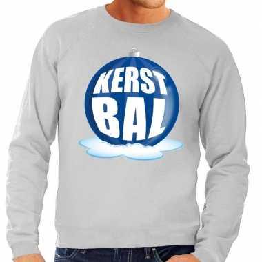 Foute kersttrui kerstbal blauw op grijze sweater voor heren