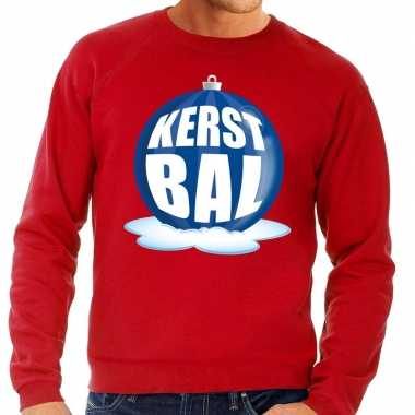 Foute kersttrui kerstbal blauw op rode sweater voor heren
