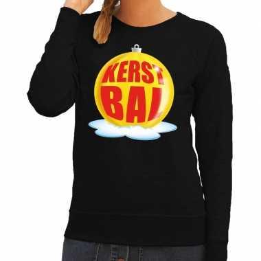 Foute kersttrui kerstbal geel op zwarte sweater voor dames