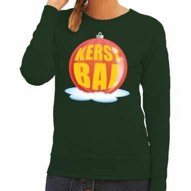 Foute kersttrui kerstbal rood op groene sweater voor dames