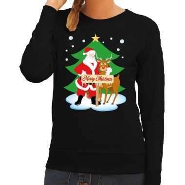 Foute kersttrui kerstman en rendier rudolf zwart dames