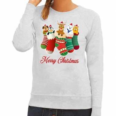 Foute kersttrui kerstsokken merry christmas grijs voor dames