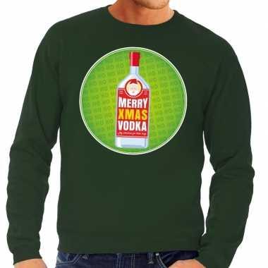 Foute kersttrui merry christmas vodka groen heren