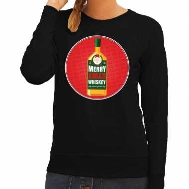 Foute kersttrui merry christmas whiskey zwart dames