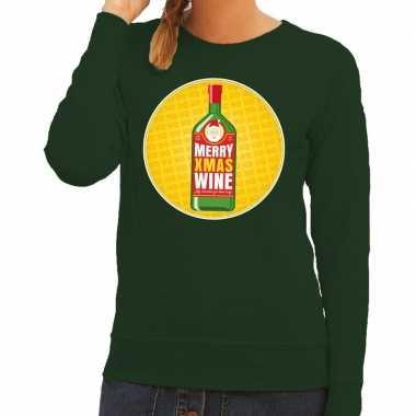Foute kersttrui merry christmas wine groen dames