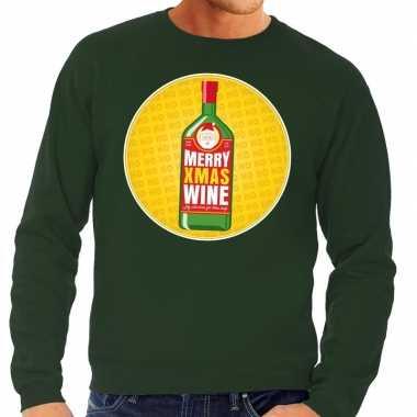 Foute kersttrui merry christmas wine groen heren