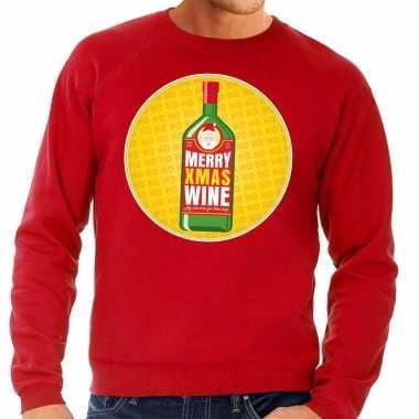 Foute kersttrui merry christmas wine rood heren