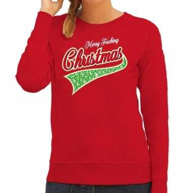 Foute kersttrui merry fucking christmas rood voor dames