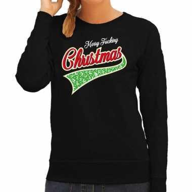 Foute kersttrui merry fucking christmas zwart voor dames