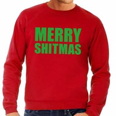 Foute kersttrui merry shitmas rood voor heren